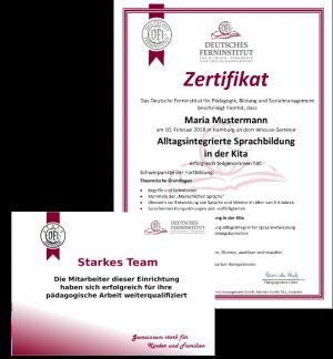 Zertifikate - Deutsches Ferninstitut für Bildung, Pädagogik und Sozialmanagement GmbH