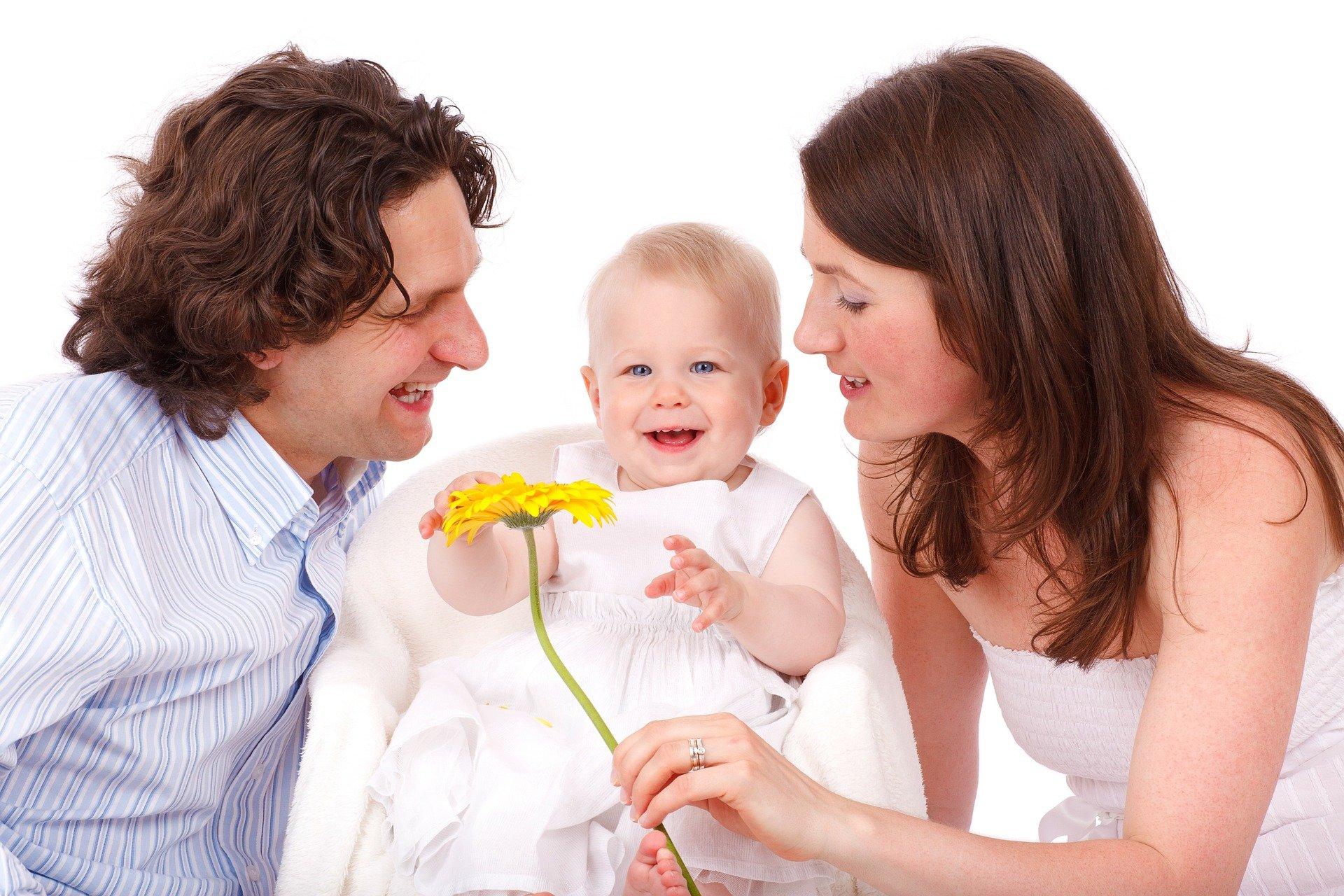 Eltern mit Kind in der Mitte mit Blume - Deutsches Ferninstitut für Bildung, Pädagogik und Sozialmanagement GmbH