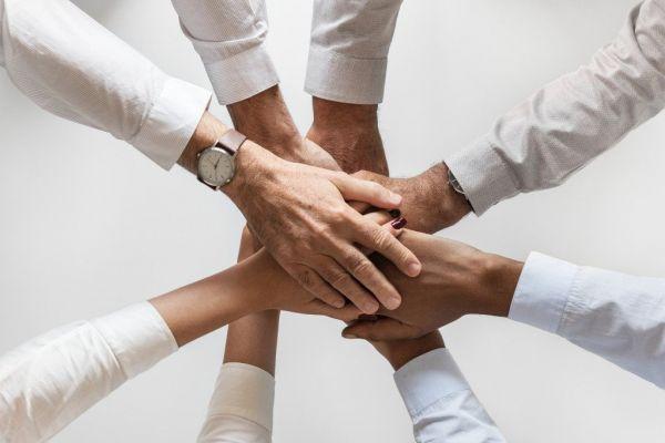 Viele Hände übereinander in weißen Hemden - Deutsches Ferninstitut für Bildung, Pädagogik und Sozialmanagement GmbH